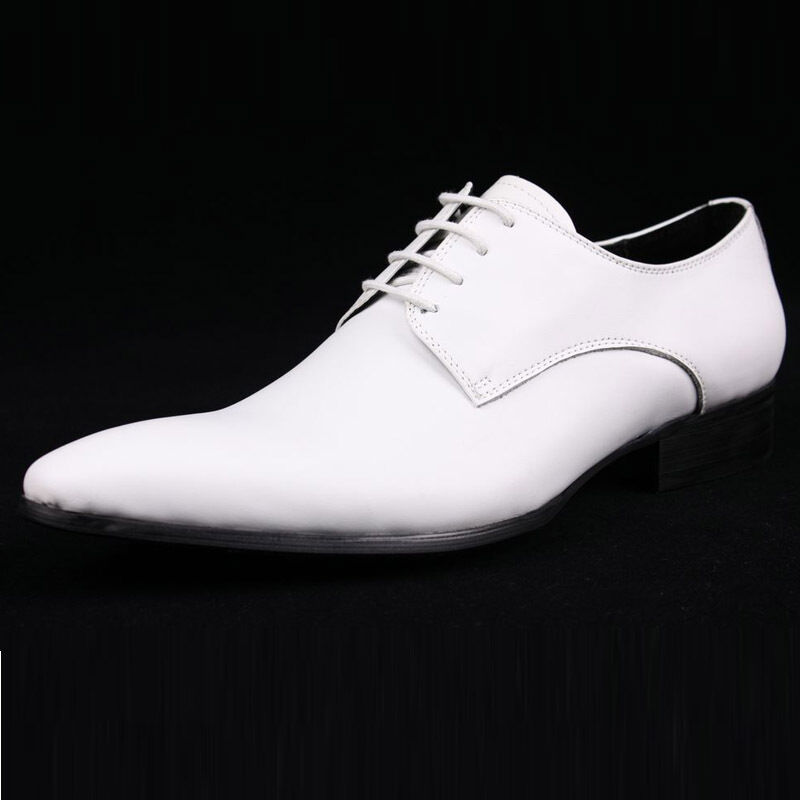 New Men's Real Leather Dress Formal shoes Lace up Wedding Party Gift White W1818