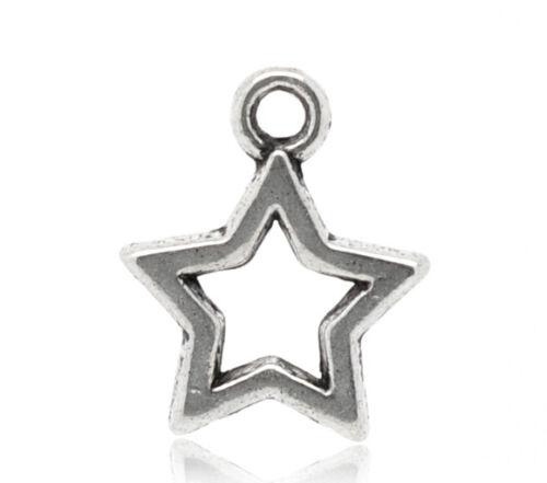 Großverkauf Antiksilber Stern Charms Anhänger Kettenanhänger Perlen 15x12mm