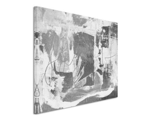 120x80cm Abstrakt/_964 Schwarz Weiß Grau Painting Wandbild Leinwand Sinus Art