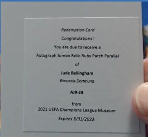 JUDE BELLINGHAM 2020-21 TOPPS MUSEUM COLLECTION RC RUBY JUMBO PATCH AUTO #/25