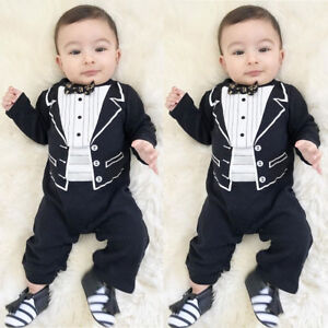 507e822fc0d 1pc Baby Boy Formal Suit Party Wedding Tuxedo Gentleman Romper ...