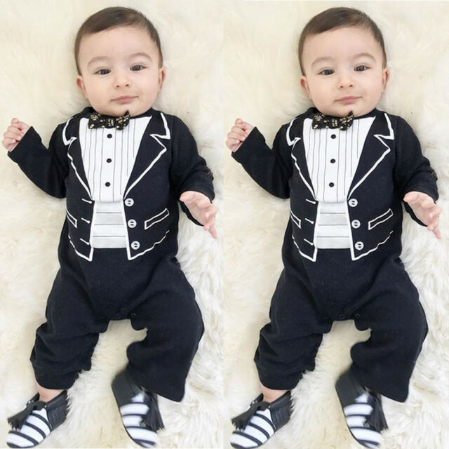 Baby Kids Gentleman Tuxedo Romper Infant Suit Necktie Newborn Boys Party Clothes