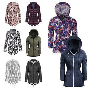 Ladies-Rain-Mac-Parka-Womens-Fishtail-Jacket-Festival-Coat-Floral-8-10-12-14-16