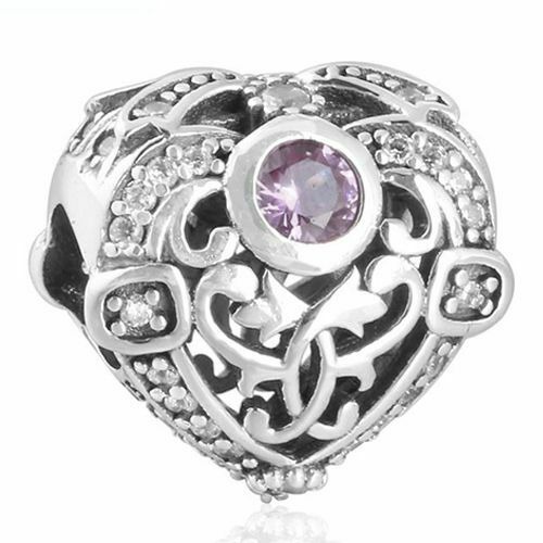 Heart Charm 925 Solid Sterling Silver Opulent Light Pink Clear Pave Bead