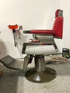 Belmont Barber Chair >> Details About Vintage 1950 S Belmont Barber Chair Red