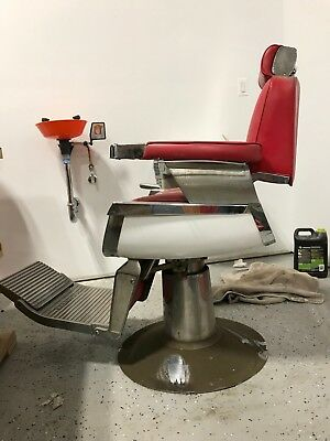 Belmont Barber Chair >> Vintage 1950 S Belmont Barber Chair Red Ebay