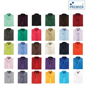 Premier-Manga-Corta-Camisa-De-Popelina-PR202-Unisex-camisa-de-oficina-formal-Workwear