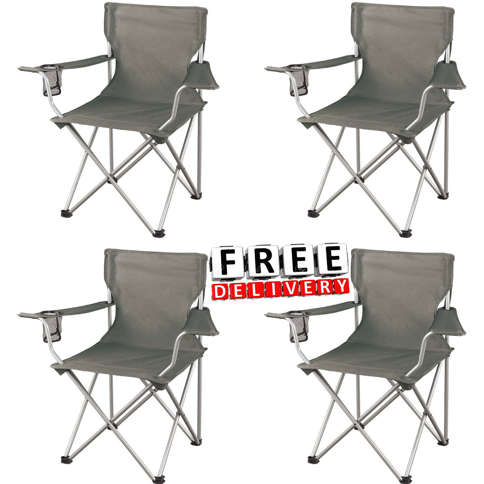 Camping Chair Folding Set Of 4 Arm Regular Portable Picnic Outdoor Hiking New