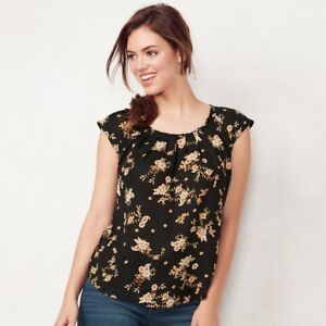 Women-039-s-LC-Lauren-Conrad-Black-Paisley-Floral-Pleated-Top-Size-Small