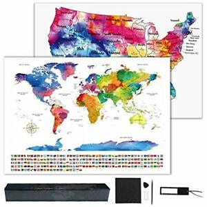Details about Hutikla Scratch Off Map of The World - Bonus Scratch Off USA  Map,FREE SHIPPING