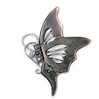 Night Butterfly Pendant w Cubic Zirconia Shell Mother of Pearl Sterling Silver