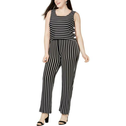 NY Collection Womens Lace Up Striped Drape Jumpsuit Plus BHFO 3183