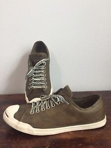 4dcc972dc213a2 Image is loading Jack-Purcell-Signature-CONVERSE-Olive-Green-Leather-Unisex-