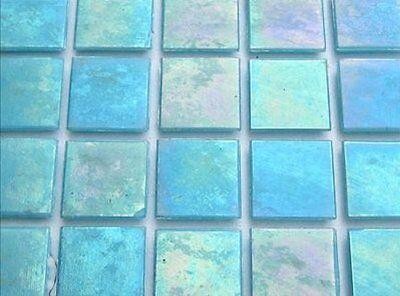 Iridescent Mosaic Tiles Tessera, Tesserae 20mm. 75 Tile Pack, Baby Blue