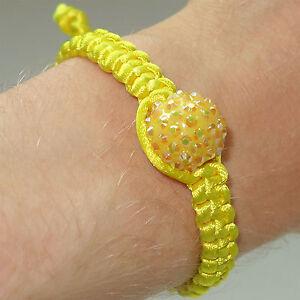 Yellow-Shamballa-Crystal-Ball-Charm-Bracelet-Wristband-Bangle-Women-039-s-Girls-Kids