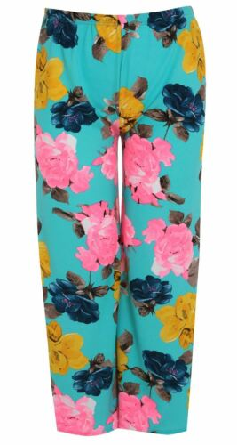 New Womens Printed Plus Size Full Length Wide Leg Palazzo Pants Trousers 8-30
