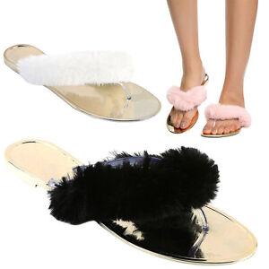 f75b224e7c7 Womens Metallic Faux Fur Slide Flip Flop Thong Open Toe Flat Sandal ...