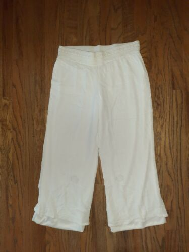 ALYX WOMENS WHITE GAUCHO PANTS WIDE LEGS LARGE