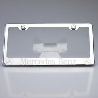 Mercedes Benz Chrome License Plate Frame Laser Engrave Stainless Steel Car Suv