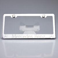 Mercedes Benz Chrome License Plate Frame Laser Engrave Stainless Steel Car Suv