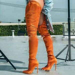 Pure-Color-Nightclub-Women-Sexy-Overknee-High-Thigh-Boots-Pointed-Stilettos-Show