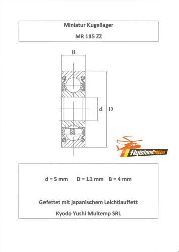 10x Kugellager MR 115 ZZ 5x11x4 mm Bearing 5 x 11 x 4 mm
