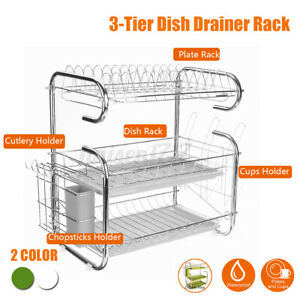 3 Tier Stainless Steel Large Capacity Dish Drying Rack Drainer Kitchen
