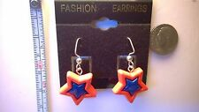 4th of July star Red with Blue earrings Silver (Nickel free) dangle hooks