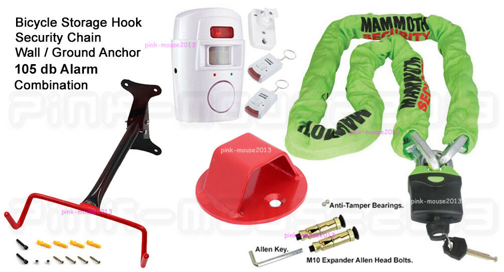 BICYCLE HOOK - SECURITY CHAIN - ANCHOR - ALARM COMBINATION