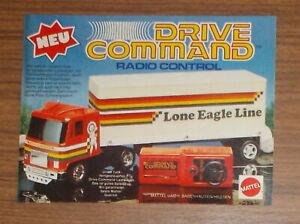 Vintage 1979 Mattel DRIVE COMMAND Lone Eagle RC toy truck Print Ad advert German