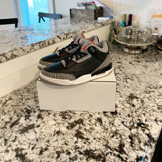 "Air Jordan Retro 3 ""Black Cement"" Mens Size 8"