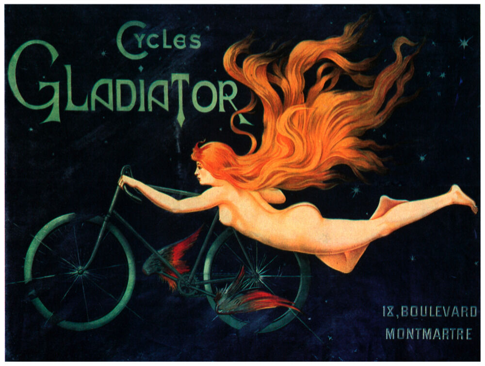 7665.Cycles gladiator.woman flying with bicycle.POSTER.art wall decor