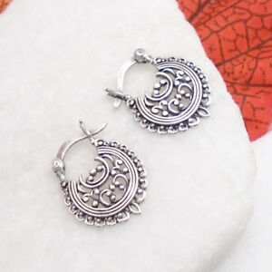 Bali-Hippie-Gipsy-Design-Ohrringe-Creolen-Ringe-Haenger-925-Sterling-Silber-neu