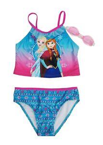 a8cac85e7 Disney Frozen Azul Elsa y Ana 3-Piece   Gafas Bañador Niñas Talla 6X ...