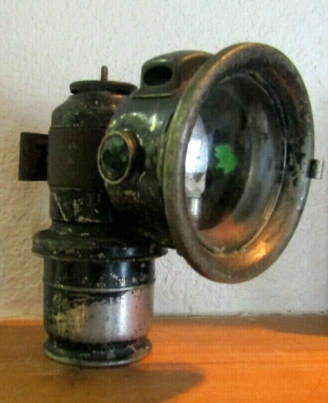 ANTIQUE POWELL & HAMMER BICYCLE CARBIDE LAMP ALL ORIGINAL  AS FOUND