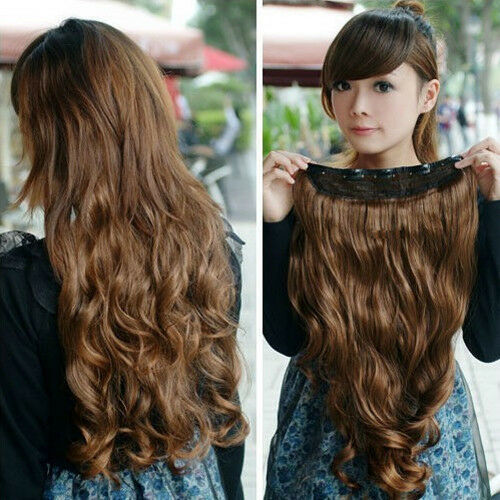 "50cm/20"" long One Piece curl/curly/wavy hair extension extensions clip-on 146"