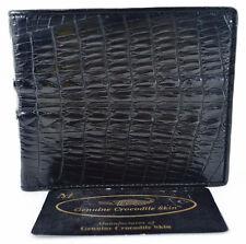 100% Genuine Crocodile Tail Leather Men's Wallet Shiny Black New