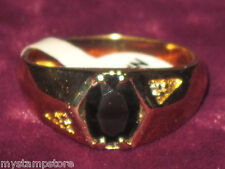 MENS GENUINE ONYX & DIAMOND & GOLD RING JEWELRY SZ 8