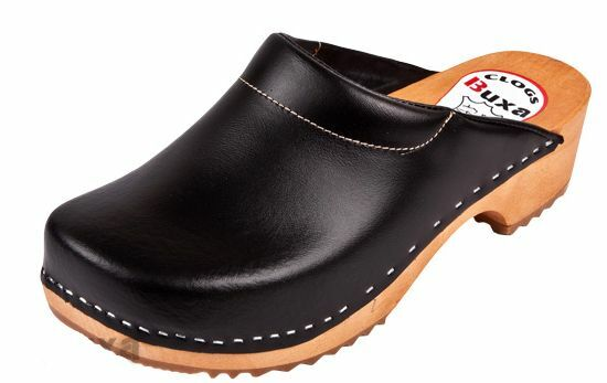 Women Wooden  leather clogs F3  Black color