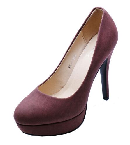 Para Mujer Marrón Oscuro Sin Cordones Plataforma Tacón Alto Inteligente Trabajo Tribunal Zapatos Talla 2-7