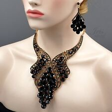 Gorgeous ROSE GOLD Plated Jet Black Crystal Necklace Earrings Jewelry Set 04600