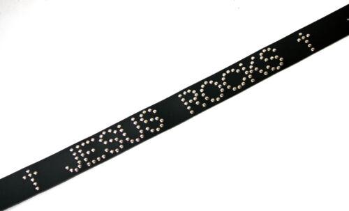 """2/"""" Genuine Leather /'† JESUS ROCKS †/' Studded Belt *Black Croc* Seconds"""