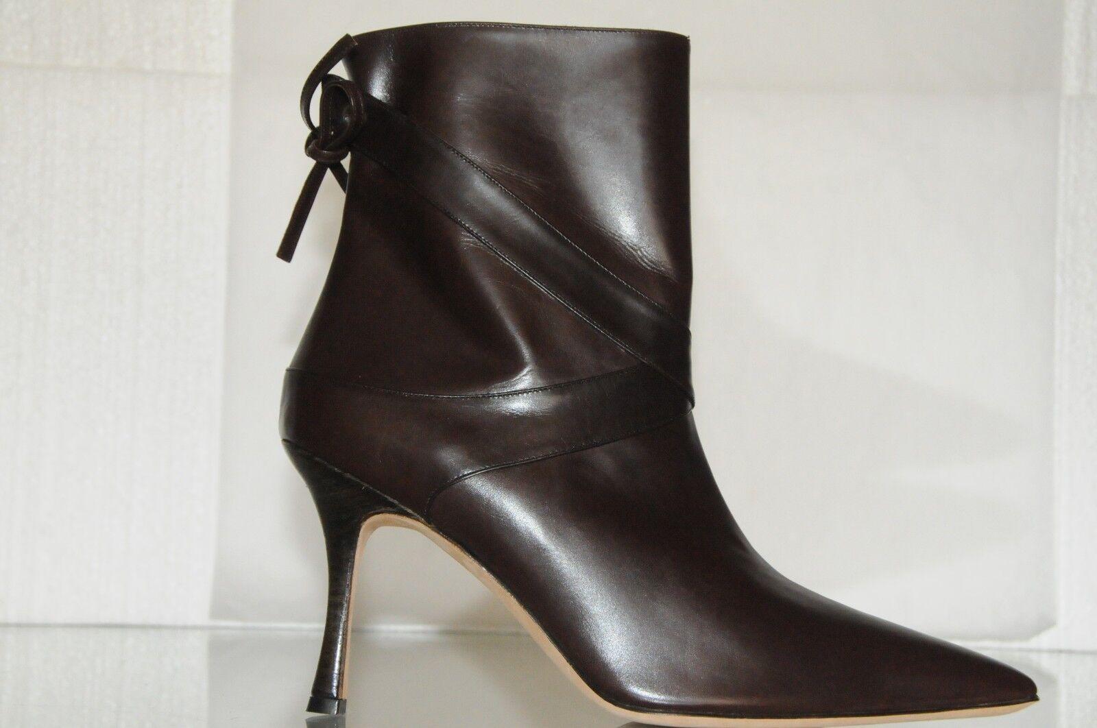 Neu Manolo Blahnik Klassisch Stiefeletten Leder Dunkelbraun Schuhe 39