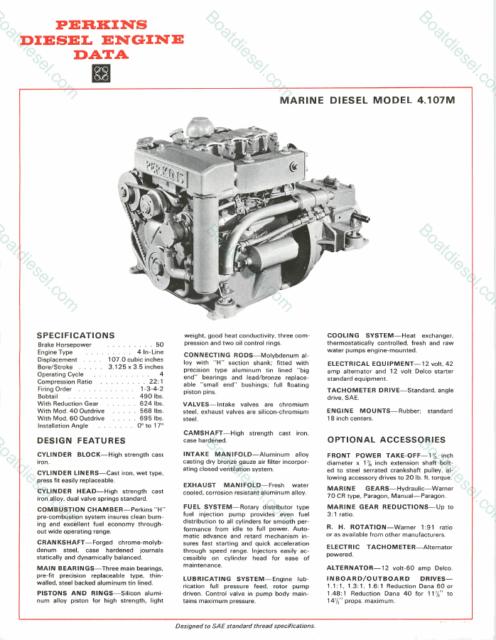Perkins 4-107 (m) Marine Diesel Engine 50 HP With ZF Transmission 1 5 Ratio