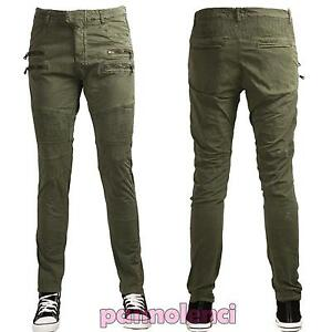 Pantaloni-uomo-chino-slim-fit-cotone-casual-aderenti-militari-zip-nuovi-CZD600