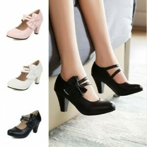 Womens Girls Lolita Sweet Bow Tie Ankle Strap Mary Janes Court Shoes 45//46//47//48
