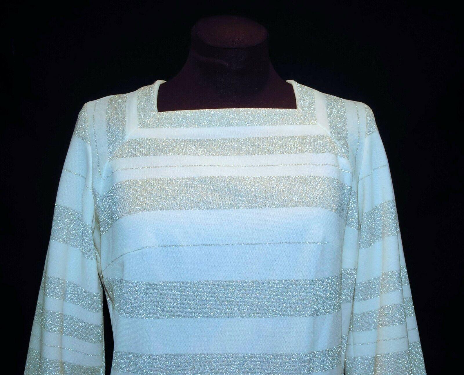 Vintage 60's Norman Wiatt Knits MOD Striped Silve… - image 3