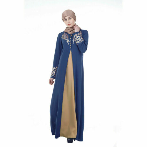 Nouveau Caftan Femmes Broderie Abaya musulman Cocktail Maxi Islamique Robe Robe