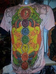 Yoga à manches courtes Hommes Chemise-Coton Meditation Chakras univers Hippie OM M