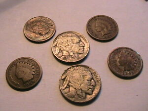 Lot-2-of-6-Nice-Indian-Heads-4-Pennies-and-2-Nickles-One-amp-Five-Cent-USA-Coins